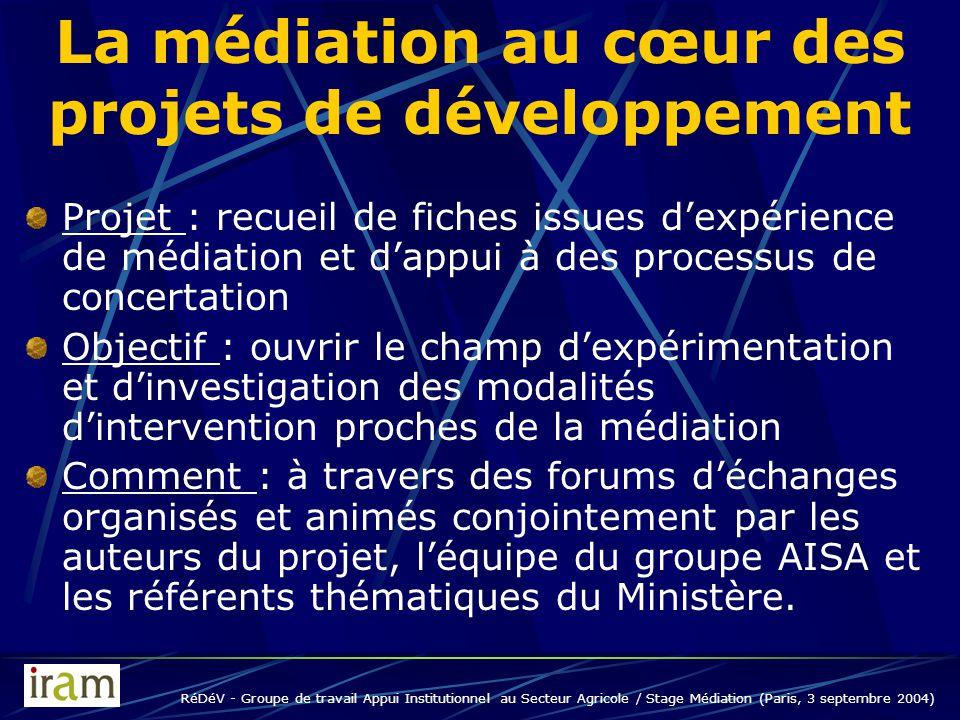 RéDéV - Groupe de travail Appui Institutionnel au Secteur Agricole / Stage Médiation (Paris, 3 septembre 2004) La médiation au cœur des projets de développement Quand .