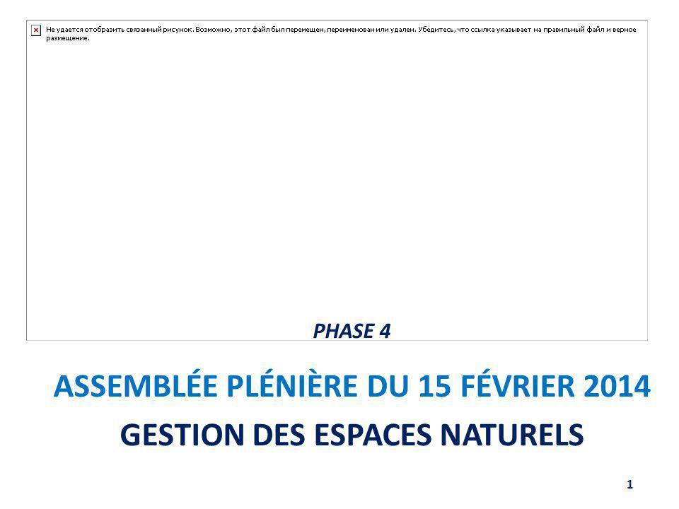 ASSEMBLÉE PLÉNIÈRE DU 15 FÉVRIER 2014 GESTION DES ESPACES NATURELS 1 PHASE 4