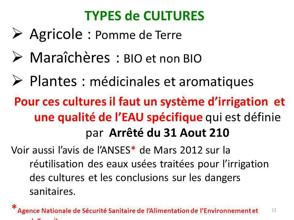 TYPES de CULTURES  Agricole : Pomme de Terre  Maraîchères : BIO et non BIO  Plantes : médicinales et aromatiques Pour ces cultures il faut un systè