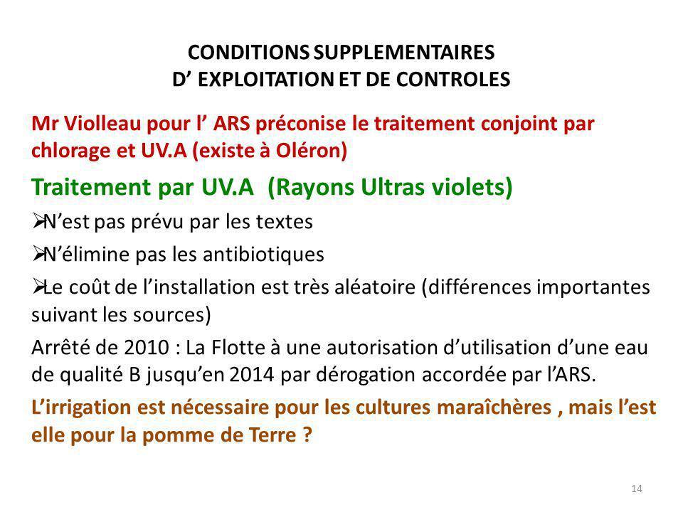 CONDITIONS SUPPLEMENTAIRES D' EXPLOITATION ET DE CONTROLES Mr Violleau pour l' ARS préconise le traitement conjoint par chlorage et UV.A (existe à Oléron) Traitement par UV.A (Rayons Ultras violets)  N'est pas prévu par les textes  N'élimine pas les antibiotiques  Le coût de l'installation est très aléatoire (différences importantes suivant les sources) Arrêté de 2010 : La Flotte à une autorisation d'utilisation d'une eau de qualité B jusqu'en 2014 par dérogation accordée par l'ARS.