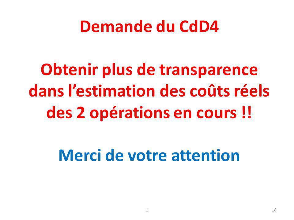 1 Demande du CdD4 Obtenir plus de transparence dans l'estimation des coûts réels des 2 opérations en cours !! Merci de votre attention 18