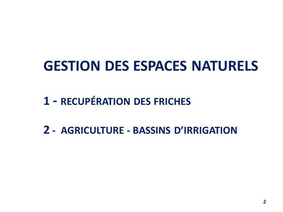 GESTION DES ESPACES NATURELS 1 - RECUPÉRATION DES FRICHES 2 - AGRICULTURE - BASSINS D'IRRIGATION 2