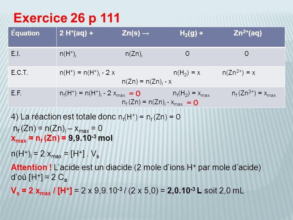 Exercice 26 p 111 4) La réaction est totale donc n f (H + ) = n f (Zn) = 0 n(H + ) i = 2 x max = [H + ].