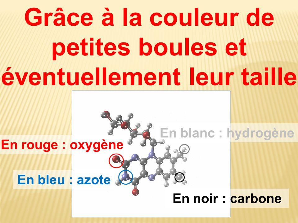 Grâce à la couleur de petites boules et éventuellement leur taille En blanc : hydrogène En bleu : azote En rouge : oxygène En noir : carbone