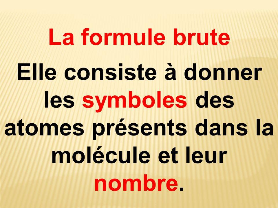 La formule brute Elle consiste à donner les symboles des atomes présents dans la molécule et leur nombre.
