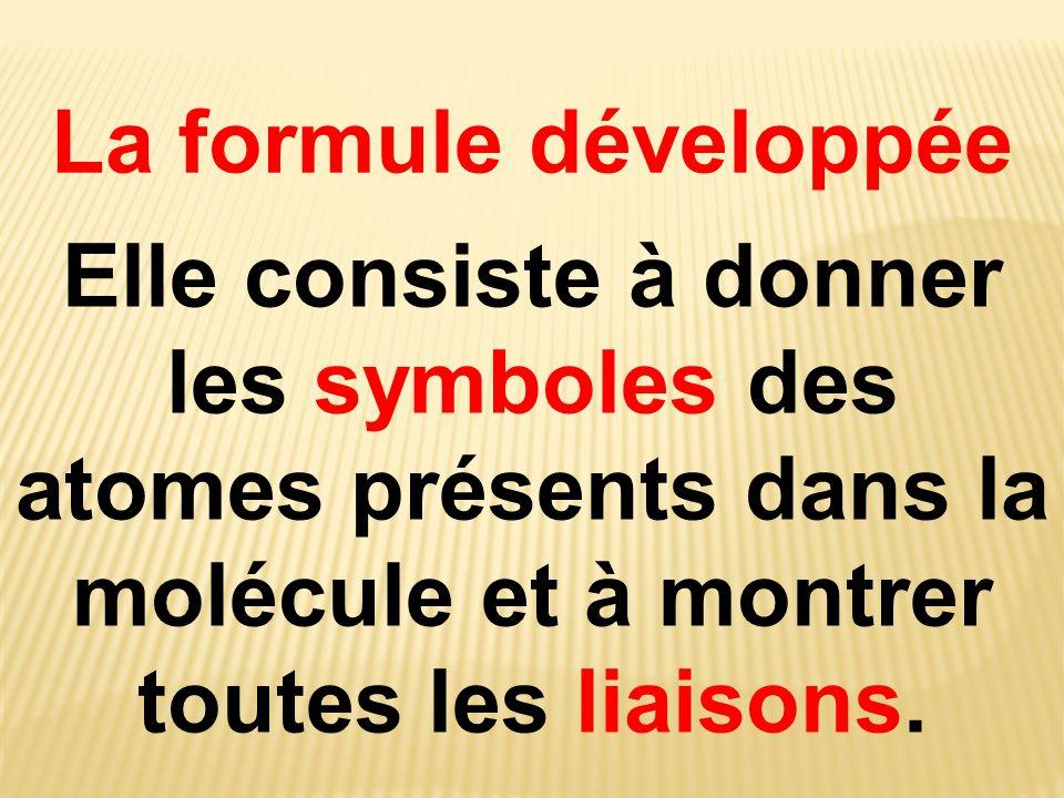 La formule développée Elle consiste à donner les symboles des atomes présents dans la molécule et à montrer toutes les liaisons.