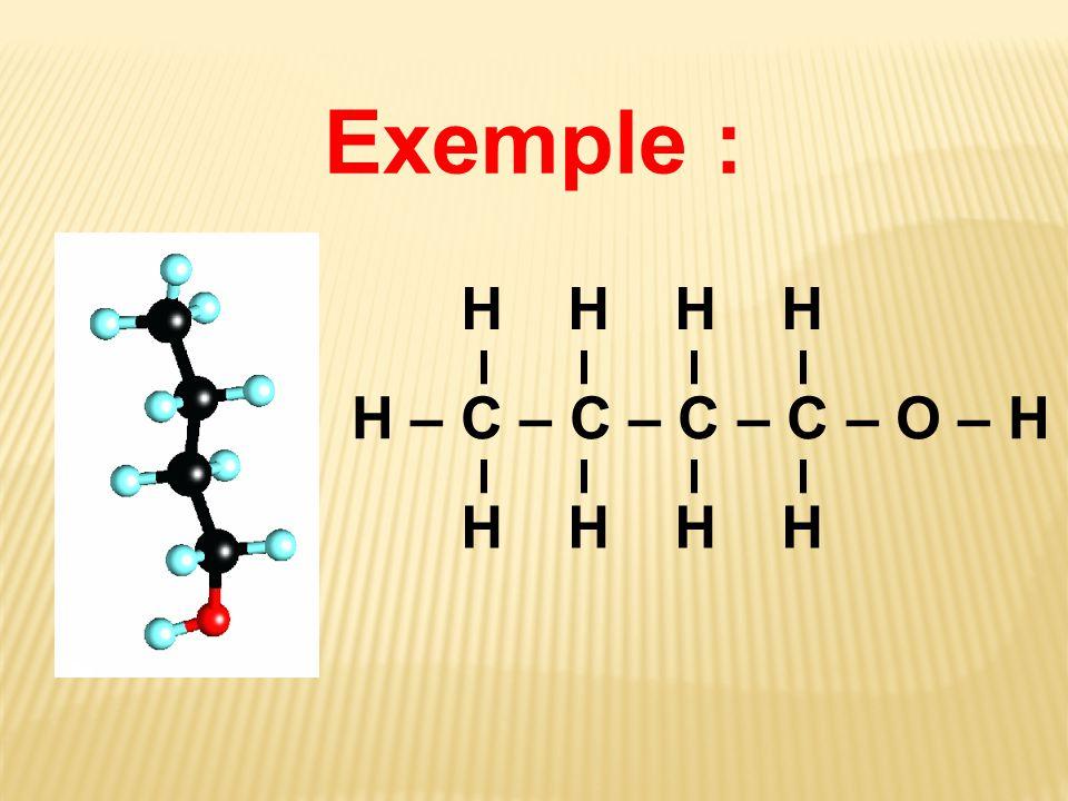 Exemple : H – C – C – C – C – O – H H H