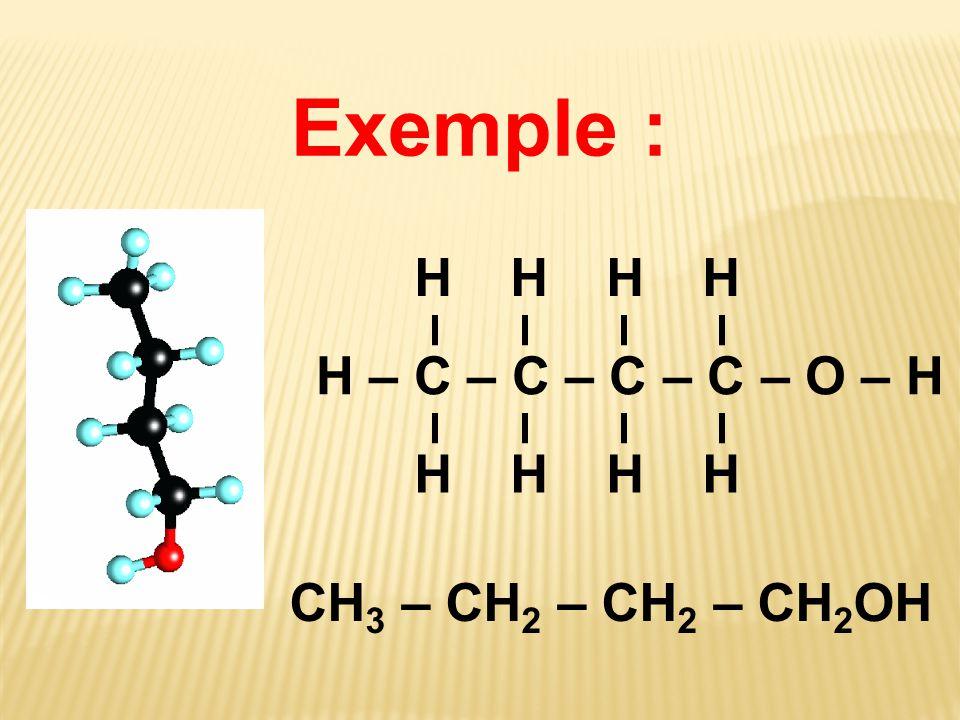 Exemple : H – C – C – C – C – O – H H H CH 3 – CH 2 – CH 2 – CH 2 OH