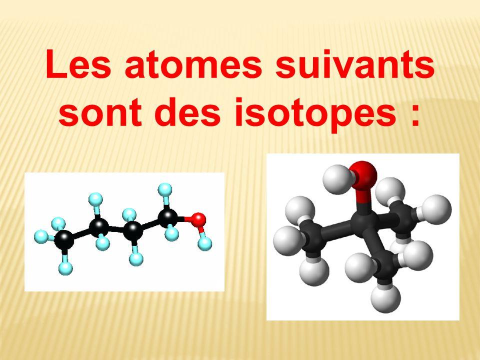 Les atomes suivants sont des isotopes :