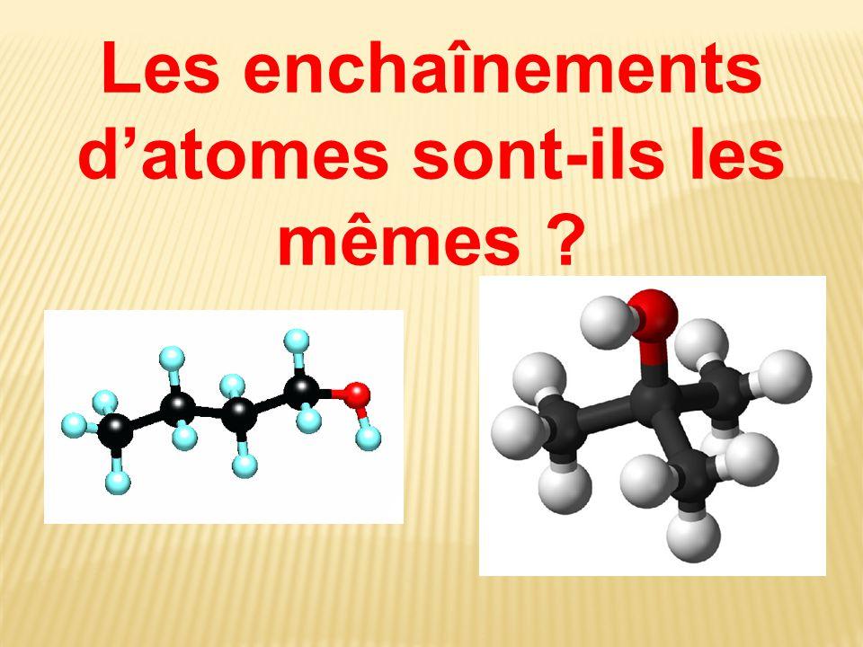 Les enchaînements d'atomes sont-ils les mêmes ?