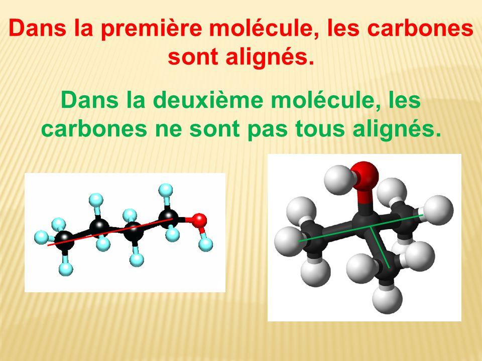 Dans la première molécule, les carbones sont alignés.