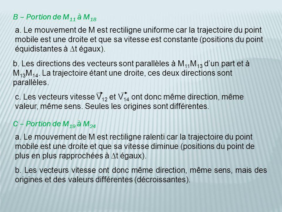 B – Portion de M 11 à M 18 a. Le mouvement de M est rectiligne uniforme car la trajectoire du point mobile est une droite et que sa vitesse est consta