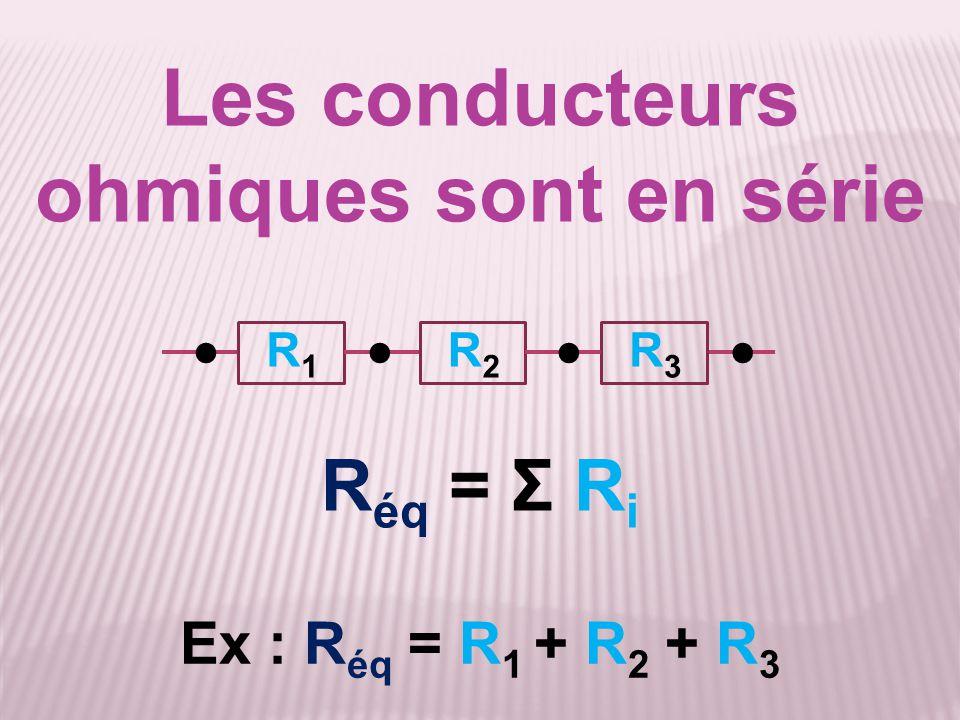 Les conducteurs ohmiques sont en série R éq = Σ R i ●●●●R1R1 R2R2 R3R3 Ex : R éq = R 1 + R 2 + R 3