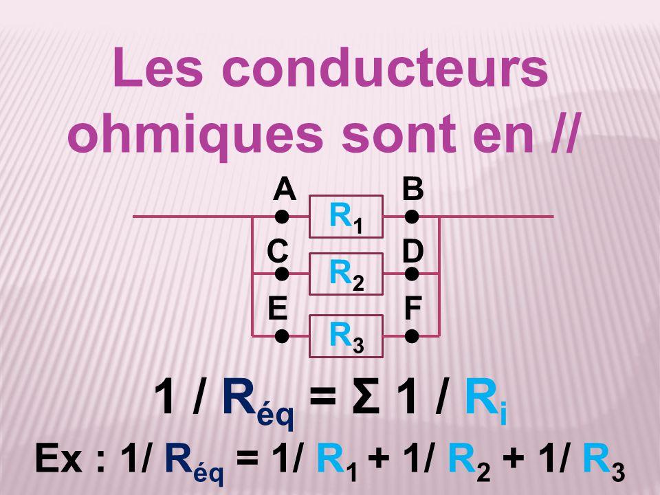 Les conducteurs ohmiques sont en // Ex : 1/ R éq = 1/ R 1 + 1/ R 2 + 1/ R 3 1 / R éq = Σ 1 / R i AB ● ●● CD ● ●● EF R1R1 R2R2 R3R3