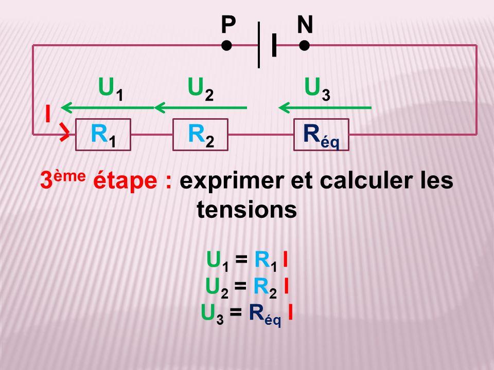U 1 = R 1 I U 2 = R 2 I U 3 = R éq I 3 ème étape : exprimer et calculer les tensions R2R2 R1R1 PN ●● I R éq U1U1 U2U2 U3U3