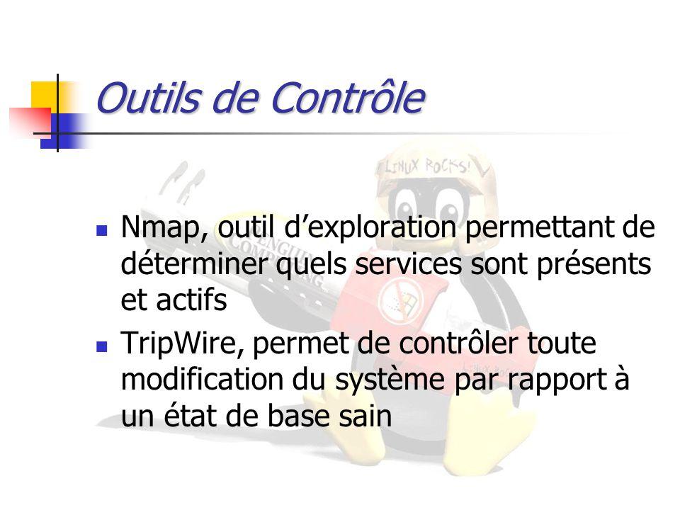 Outils de Contrôle Nmap, outil d'exploration permettant de déterminer quels services sont présents et actifs TripWire, permet de contrôler toute modif