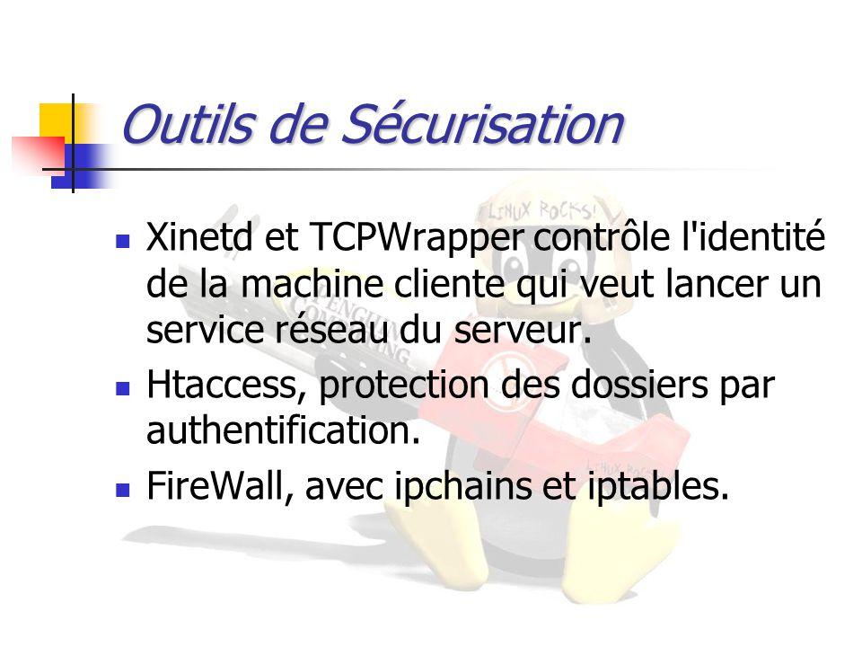 Outils de Sécurisation Xinetd et TCPWrapper contrôle l'identité de la machine cliente qui veut lancer un service réseau du serveur. Htaccess, protecti