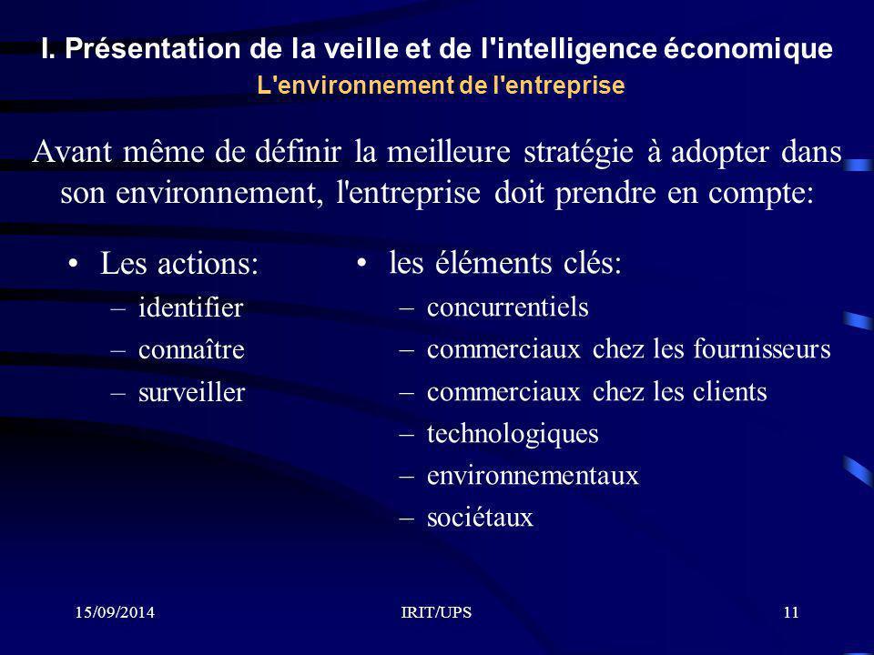 15/09/2014IRIT/UPS11 I. Présentation de la veille et de l'intelligence économique L'environnement de l'entreprise Avant même de définir la meilleure s