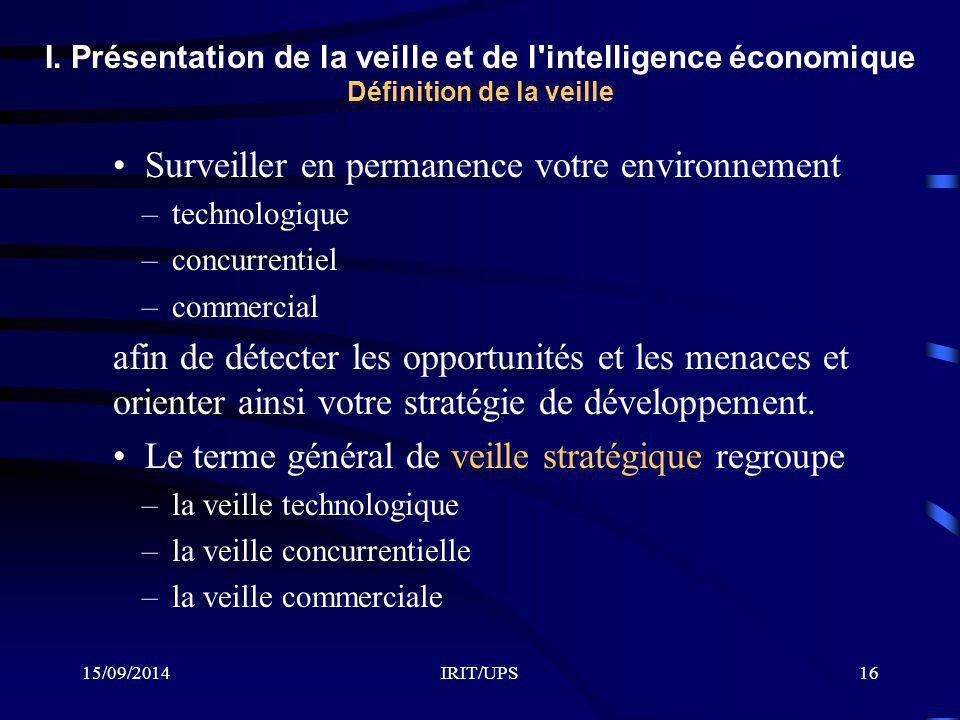 15/09/2014IRIT/UPS16 I. Présentation de la veille et de l'intelligence économique Définition de la veille Surveiller en permanence votre environnement