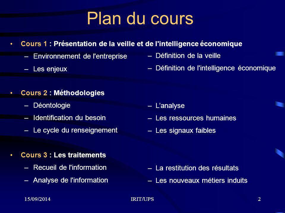 15/09/2014IRIT/UPS2 Plan du cours Cours 1 : Présentation de la veille et de l'intelligence économique –Environnement de l'entreprise –Les enjeux Cours