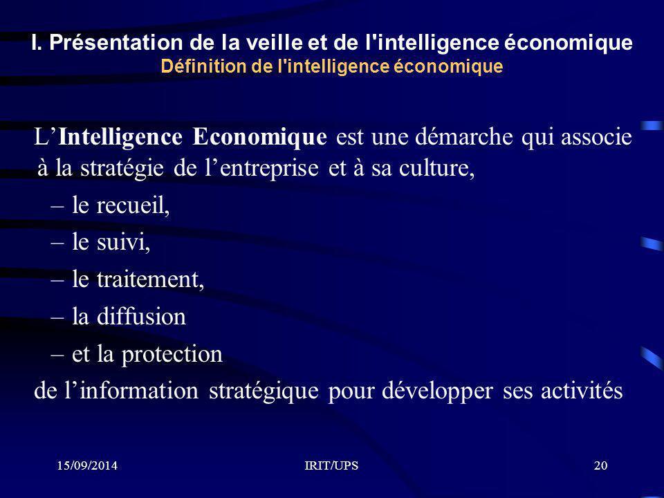 15/09/2014IRIT/UPS20 I. Présentation de la veille et de l'intelligence économique Définition de l'intelligence économique L'Intelligence Economique es