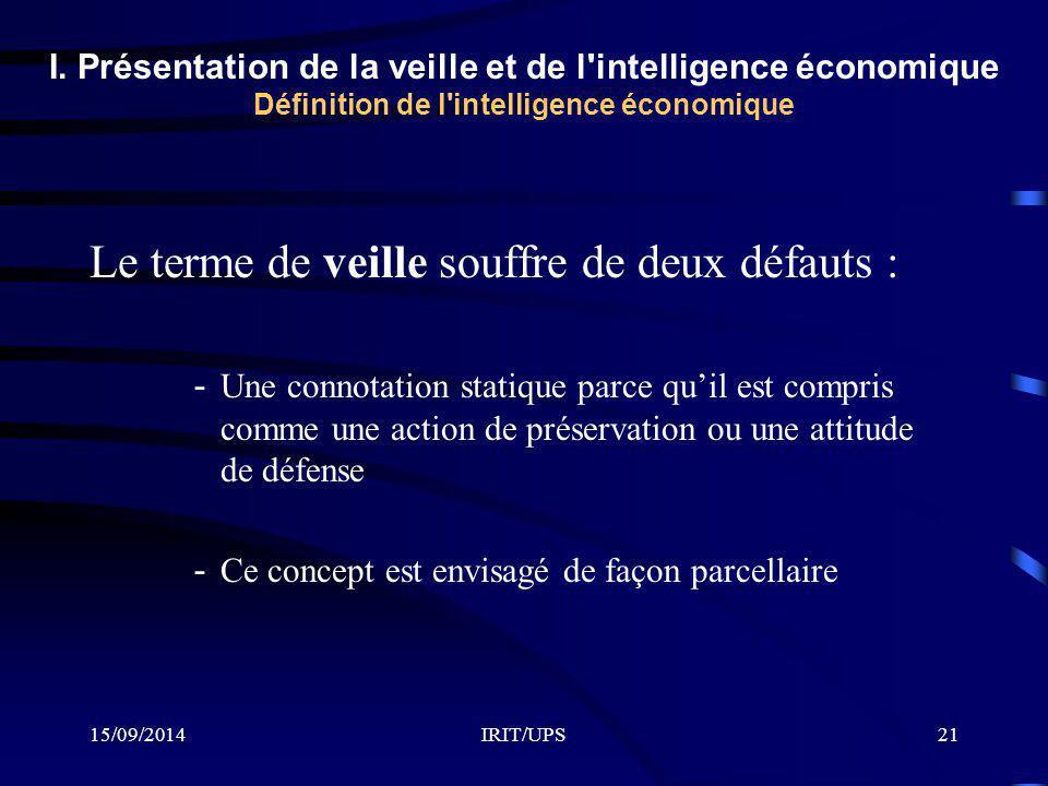 15/09/2014IRIT/UPS21 Le terme de veille souffre de deux défauts : -Une connotation statique parce qu'il est compris comme une action de préservation ou une attitude de défense -Ce concept est envisagé de façon parcellaire I.