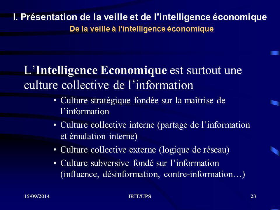 15/09/2014IRIT/UPS23 L'Intelligence Economique est surtout une culture collective de l'information Culture stratégique fondée sur la maîtrise de l'inf