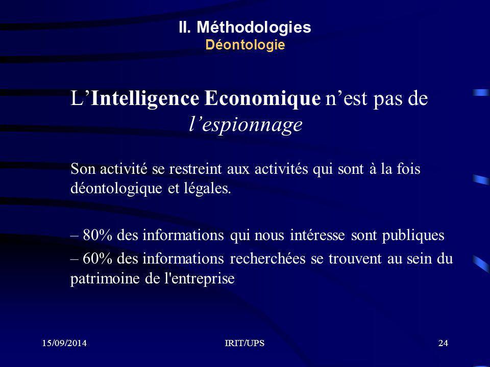 15/09/2014IRIT/UPS24 II. Méthodologies Déontologie L'Intelligence Economique n'est pas de l'espionnage Son activité se restreint aux activités qui son