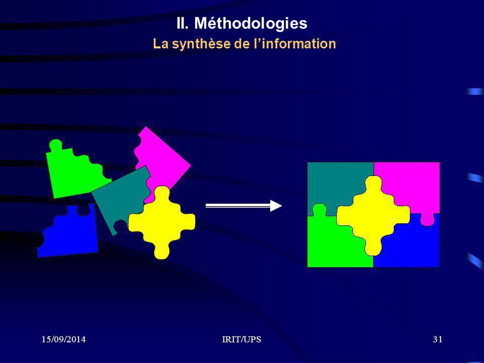 15/09/2014IRIT/UPS31 II. Méthodologies La synthèse de l'information