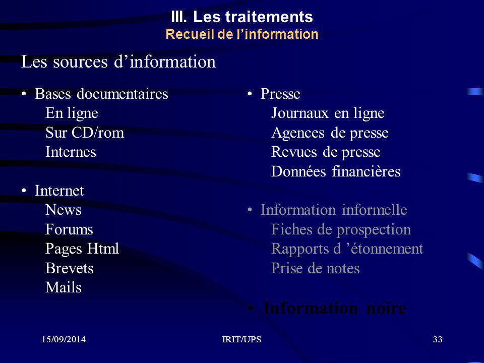 15/09/2014IRIT/UPS33 III. Les traitements Recueil de l'information Les sources d'information Bases documentaires En ligne Sur CD/rom Internes Internet