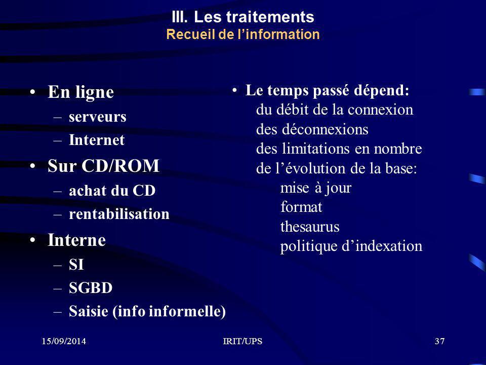 15/09/2014IRIT/UPS37 En ligne –serveurs –Internet Sur CD/ROM –achat du CD –rentabilisation Interne –SI –SGBD –Saisie (info informelle) Le temps passé
