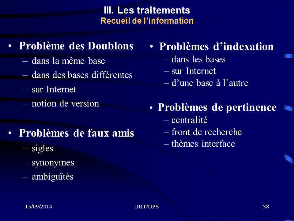 15/09/2014IRIT/UPS38 Problème des Doublons –dans la même base –dans des bases différentes –sur Internet –notion de version Problèmes de faux amis –sigles –synonymes –ambiguïtés Problèmes d'indexation – dans les bases – sur Internet – d'une base à l'autre Problèmes de pertinence – centralité – front de recherche – thèmes interface III.