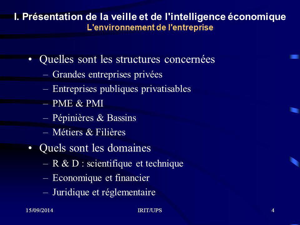 15/09/2014IRIT/UPS4 I. Présentation de la veille et de l'intelligence économique L'environnement de l'entreprise Quelles sont les structures concernée