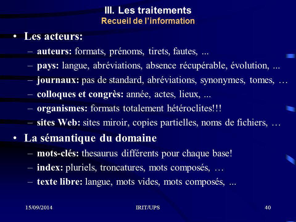 15/09/2014IRIT/UPS40 Les acteurs: –auteurs: formats, prénoms, tirets, fautes,... –pays: langue, abréviations, absence récupérable, évolution,... –jour