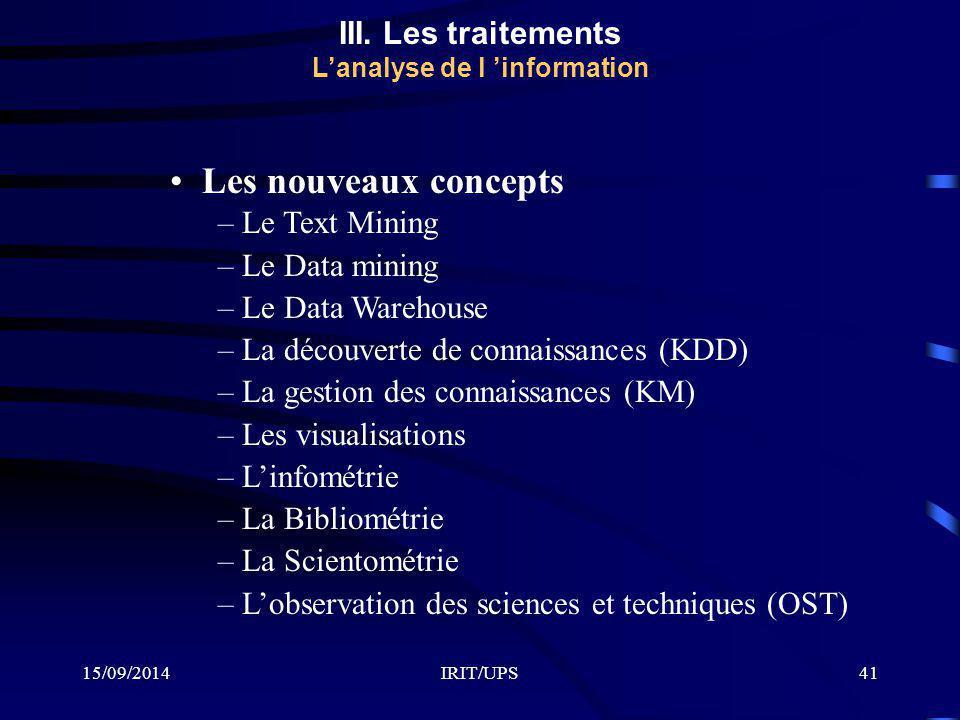 15/09/2014IRIT/UPS41 III. Les traitements L'analyse de l 'information Les nouveaux concepts – Le Text Mining – Le Data mining – Le Data Warehouse – La