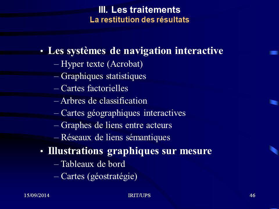 15/09/2014IRIT/UPS46 III. Les traitements La restitution des résultats Les systèmes de navigation interactive – Hyper texte (Acrobat) – Graphiques sta
