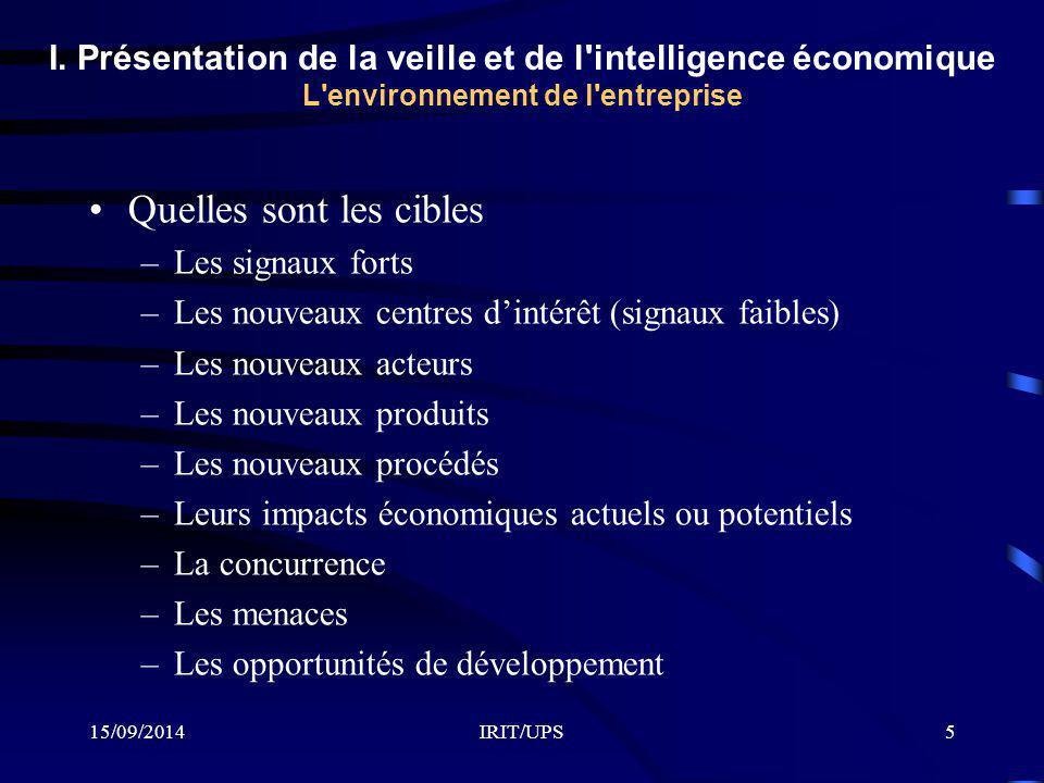 15/09/2014IRIT/UPS5 I. Présentation de la veille et de l'intelligence économique L'environnement de l'entreprise Quelles sont les cibles –Les signaux
