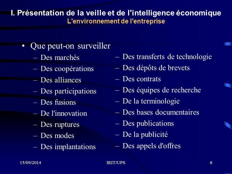 15/09/2014IRIT/UPS6 I. Présentation de la veille et de l'intelligence économique L'environnement de l'entreprise Que peut-on surveiller –Des marchés –