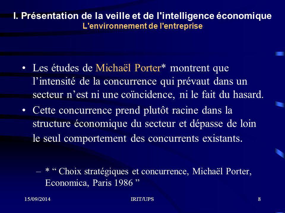 15/09/2014IRIT/UPS8 I. Présentation de la veille et de l'intelligence économique L'environnement de l'entreprise Les études de Michaël Porter* montren