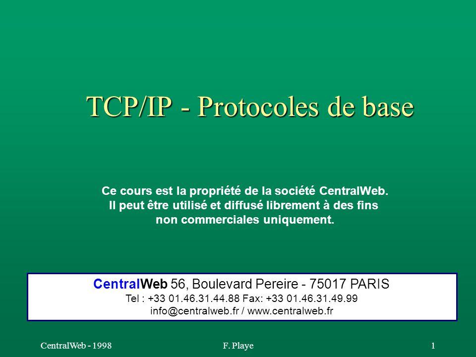 CentralWeb - 1998F. Playe1 TCP/IP - Protocoles de base Ce cours est la propriété de la société CentralWeb. Il peut être utilisé et diffusé librement à