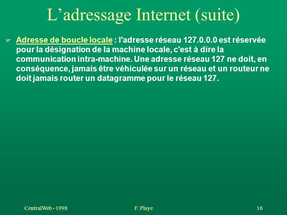 CentralWeb - 1998F. Playe 16 L'adressage Internet (suite) F Adresse de boucle locale : l'adresse réseau 127.0.0.0 est réservée pour la désignation de