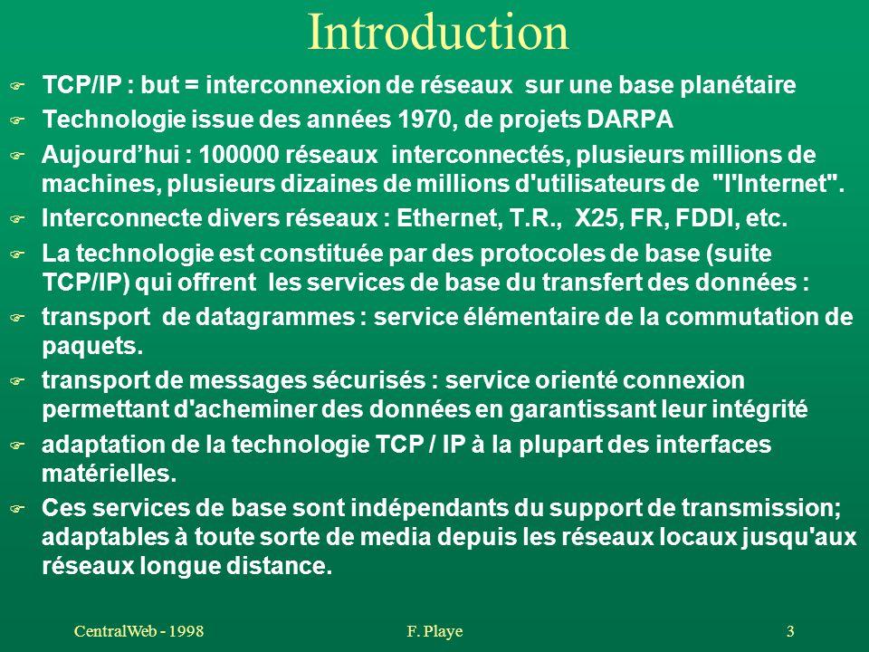 CentralWeb - 1998F. Playe 3 Introduction F TCP/IP : but = interconnexion de réseaux sur une base planétaire F Technologie issue des années 1970, de pr