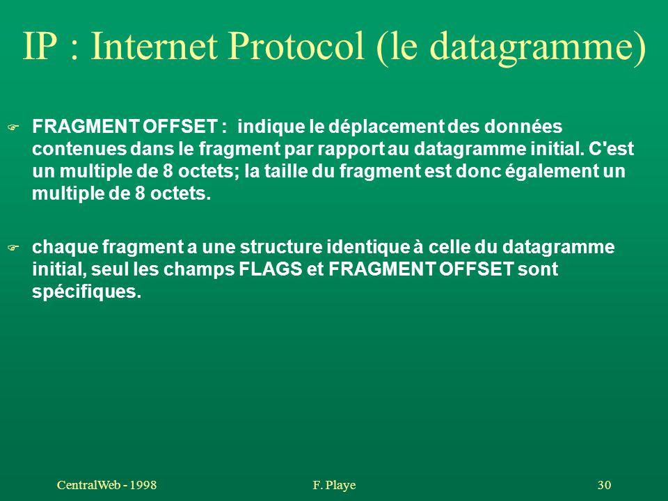 CentralWeb - 1998F. Playe 30 IP : Internet Protocol (le datagramme) F FRAGMENT OFFSET : indique le déplacement des données contenues dans le fragment