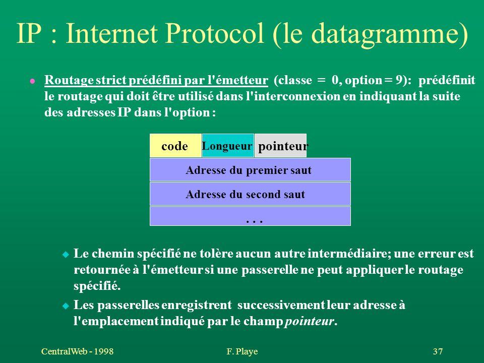 CentralWeb - 1998F. Playe 37 IP : Internet Protocol (le datagramme) l Routage strict prédéfini par l'émetteur (classe = 0, option = 9): prédéfinit le