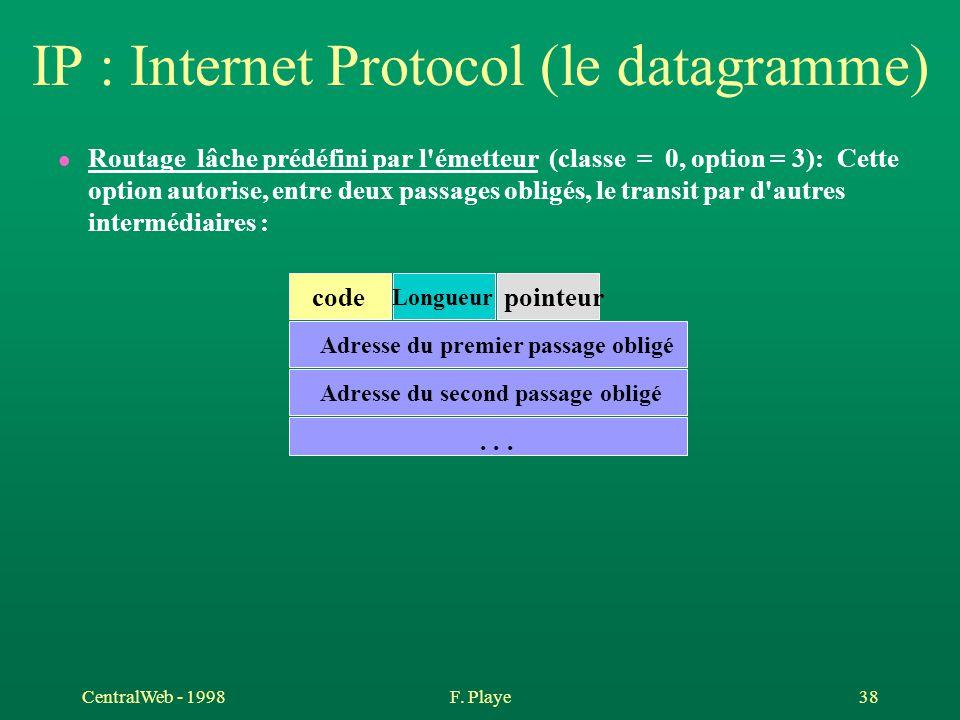 CentralWeb - 1998F. Playe 38 IP : Internet Protocol (le datagramme) l Routage lâche prédéfini par l'émetteur (classe = 0, option = 3): Cette option au