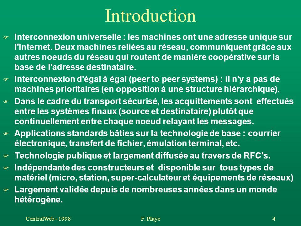 CentralWeb - 1998F. Playe 4 Introduction F Interconnexion universelle : les machines ont une adresse unique sur l'Internet. Deux machines reliées au r