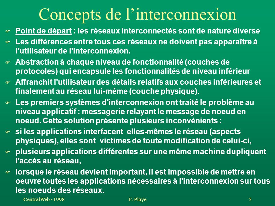 CentralWeb - 1998F. Playe 5 Concepts de l'interconnexion F Point de départ : les réseaux interconnectés sont de nature diverse F Les différences entre
