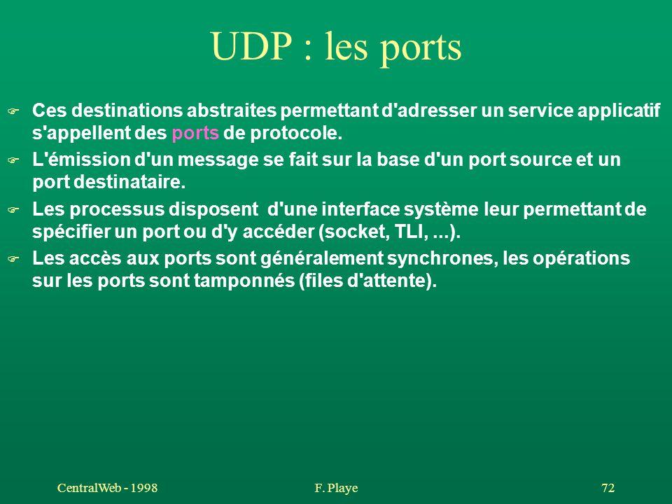 CentralWeb - 1998F. Playe 72 UDP : les ports F Ces destinations abstraites permettant d'adresser un service applicatif s'appellent des ports de protoc