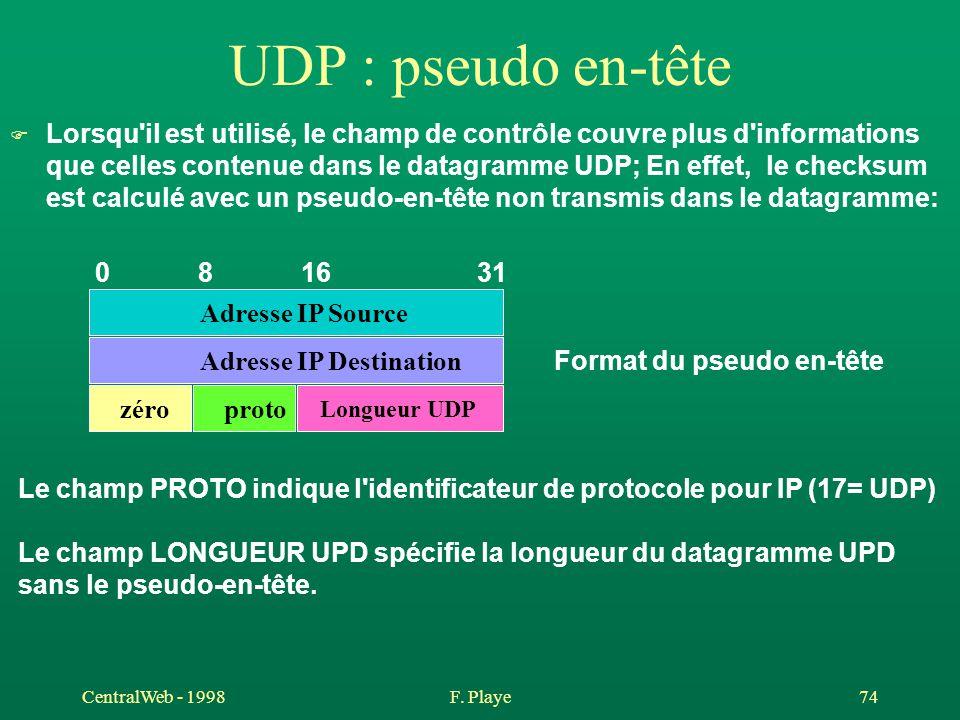 CentralWeb - 1998F. Playe 74 UDP : pseudo en-tête F Lorsqu'il est utilisé, le champ de contrôle couvre plus d'informations que celles contenue dans le