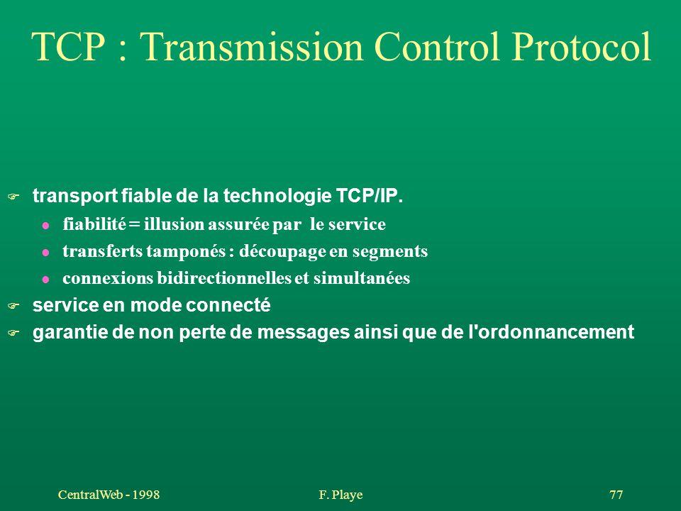 CentralWeb - 1998F. Playe 77 TCP : Transmission Control Protocol F transport fiable de la technologie TCP/IP. l fiabilité = illusion assurée par le se
